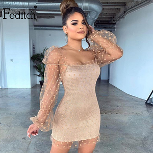 Feditch Mesh Dot Bodycon Dress Black Hollow Out Women Dress Lace Spring Summer Sexy Pleated Nightclub Short Party Dress Vestidos