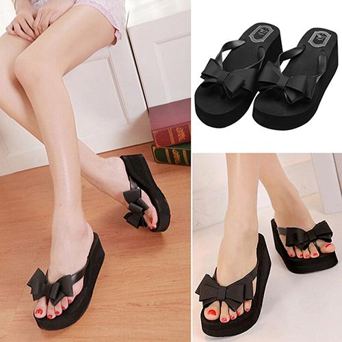 <font><b>Women</b></font> Fashion Platform Mid <font><b>Heel</b></font> Flip Flops Beach Sandals Bowknot <font><b>Slippers</b></font> <font><b>Shoes</b></font> <font><b>high</b></font> <font><b>heels</b></font> mules <font><b>sexy</b></font> высокая танкетка image