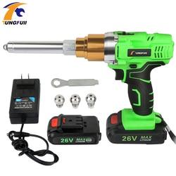 Клепальный пистолет 26v 3000mAh портативный; беспроводной; перезаряжаемый инструмент для клепки Электрический клепальщик заклепка с светодиод...