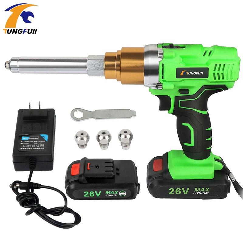 Riveter Gun 26v 3000mAh Portable Cordless Rechargeable Riveting Tool Electrical Riveter Rivet With LED Light Riveter Gun Support