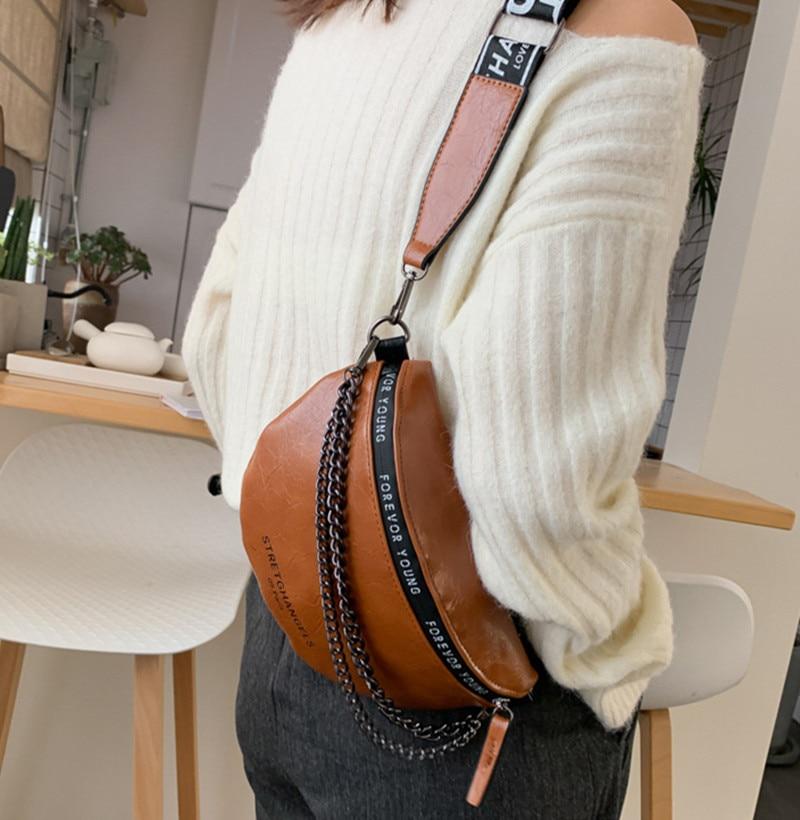 Women's Bags Waist Bag  PU Leather Metal Double Chain Sum Per Band Fanny Pack Bananka Fashion Satchel Belly Band Belt Bag