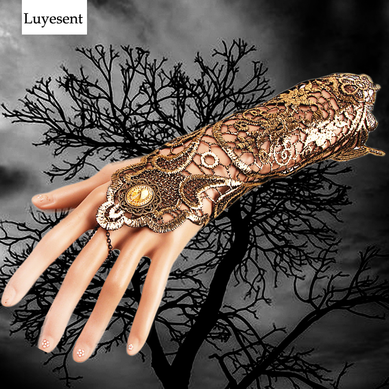 Gold Color Punk Women Lace Glove Fingerless Cuff Elbow Length Mitten 2020 Lace-up Chain Party Gothic Hollow Out Goth Accessories