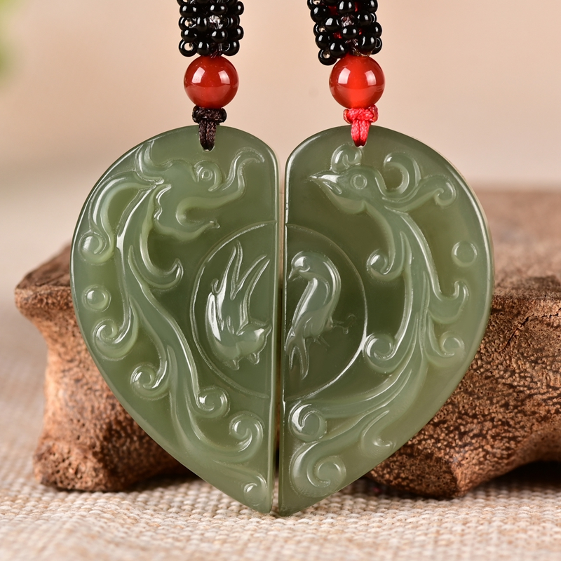 goldfish Chinese hand-carved green jade pendant Xinjiang