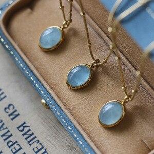 Amaiyllis 18K Gold Natural Stone Clavicle Chain Necklaces Blue Ellipse Aquamarine Necklace Pendants For Female Jewelry Gift