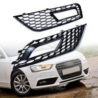 2X RS4 Style Front Bumper Lower Grille Fog Light Grill Compatible with 2013-2016 Audi A4 B8.5 (Black Grille+Cover)