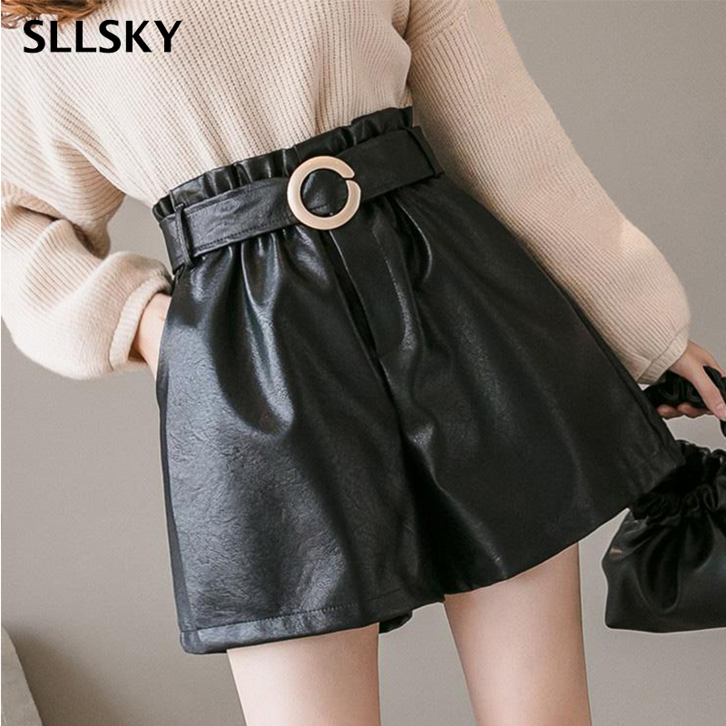 SLLSKY New High Waist Wide Leg PU Shorts With Sashes A-line Solid Simple Office Lady Leather Shorts Slim Fashion Loose Shorts