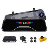Phisung-cámara DVR para espejo retrovisor de coche, sistema de Sensor de aparcamiento, visión nocturna, Registrador de vídeo, FHD1080P, 9,66