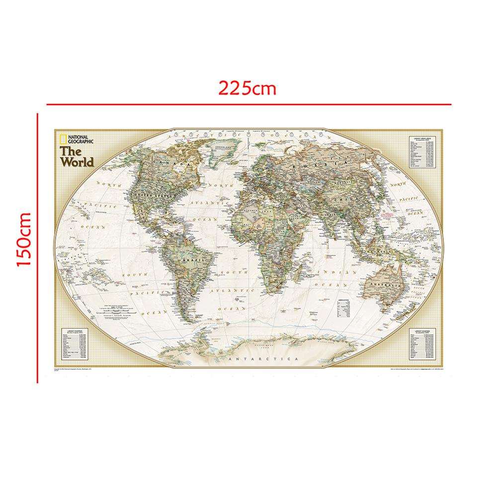 Non-woven No-fading Map 150x225cm The World Physical Map For Culture And Education