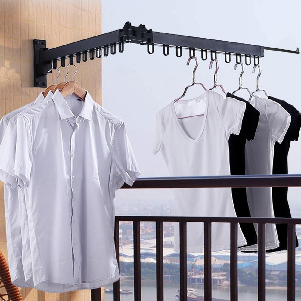 Foldable Wall Hanging Clothes Drying Rack Clothes Hanger Indoor Balcony Retractable Hanger Towels Clothes Organizer