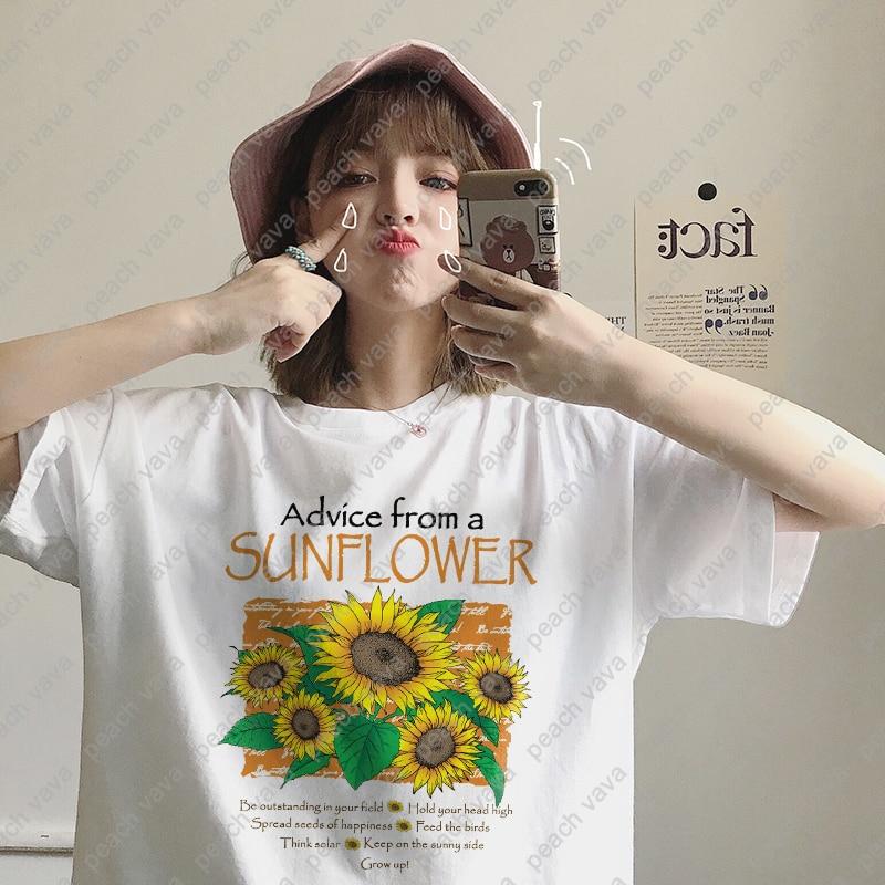 Summer Womens New Harajuku Flower Print Fashion Personality Art Casual Loose Fun Womens T Shirt Tops-in T