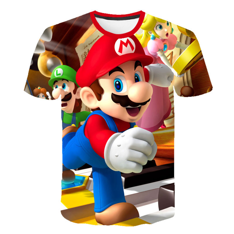 Mario Bros Mashup T Shirt Top 2020 Kawaii Child Boys T Shirts Fashion Harajuku Kids Clothes Hip Hop Streetwear Boys Clothes Top