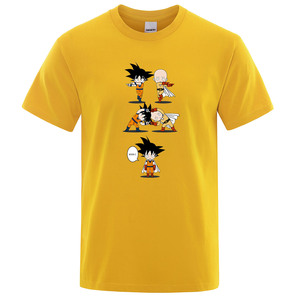 Fusion Saiyan футболка японского аниме топы Dragon Ball Son Goku кроссовер One Punch Man Футболка Сайтама мужская серая хлопковая футболка