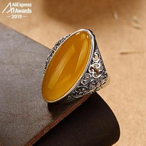 Image 1 - Israel S925 Fine flower Ring Sterling Silver handicraft upper I love mom yellow oval Artisan Baltic Gemstone amber