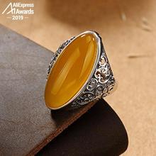 إسرائيل S925 غرامة زهرة خاتم فضة الحرف اليدوية العليا أنا أحب أمي الأصفر البيضاوي الحرفي البلطيق الأحجار الكريمة العنبر