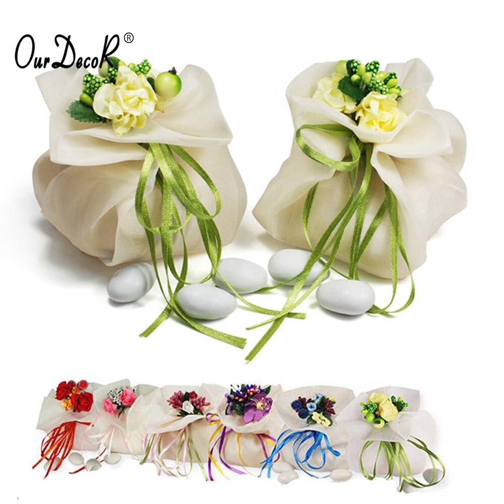 200 pièces mariage bonbons Souvenir cadeau sacs pochette avec fleurs ruban anniversaire chocolat sac mariage décoration par DHL/EMS