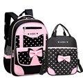 2 шт./компл. ортопедический рюкзак для девочек школьные сумки с бантом Детские рюкзаки милые дети распылитель ранцевого типа для с школьная ...
