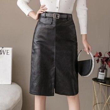 PU Leather Skirt Women Fashion High Waist Skirts 2020 Split Mini Skirt Package Hip Skirts Women Clothing trendy women s elastic waist pu leather spliced skirt