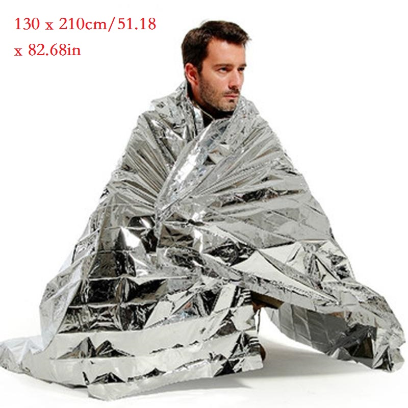 130x210cm Portable Waterproof Emergency Blanket Windproof Survival Rescue Thermal Mylar Blankets Outdoor Life-saving Equipmet
