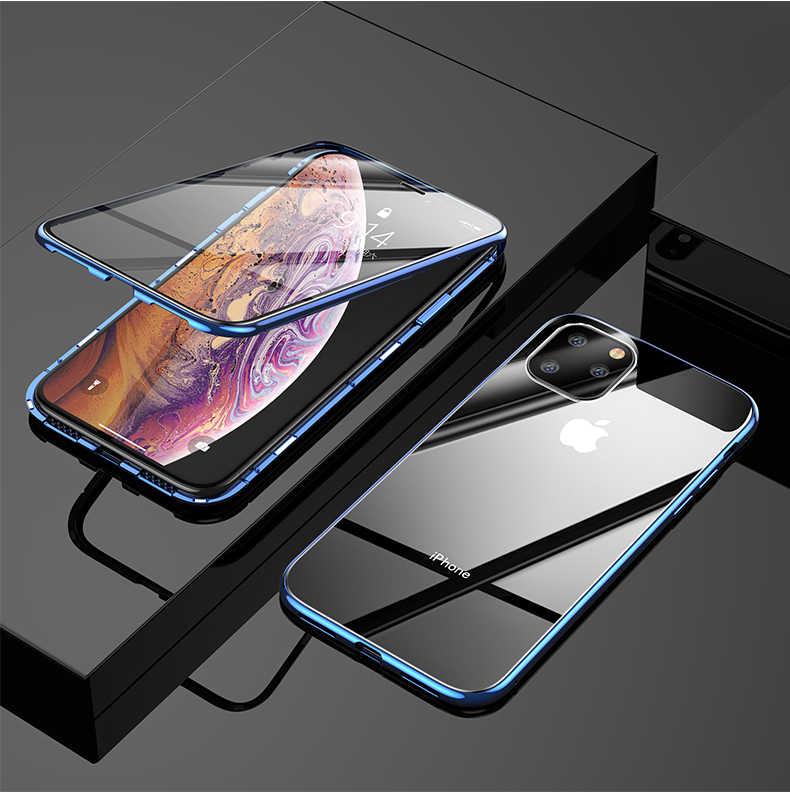 360 ブランドメタルケース iphone 6 7 8 プラス XS XR 最大ケース磁気高級強化ガラスカバーのための apple の iphone 11 プロマックスケース