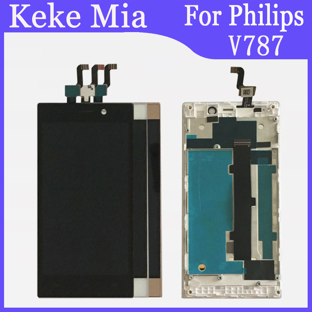 5.0 inch For Philips V787 LCD Display + Touch Screen Digitizer Assembly With Frame Replacement Philips Xenium V787 image
