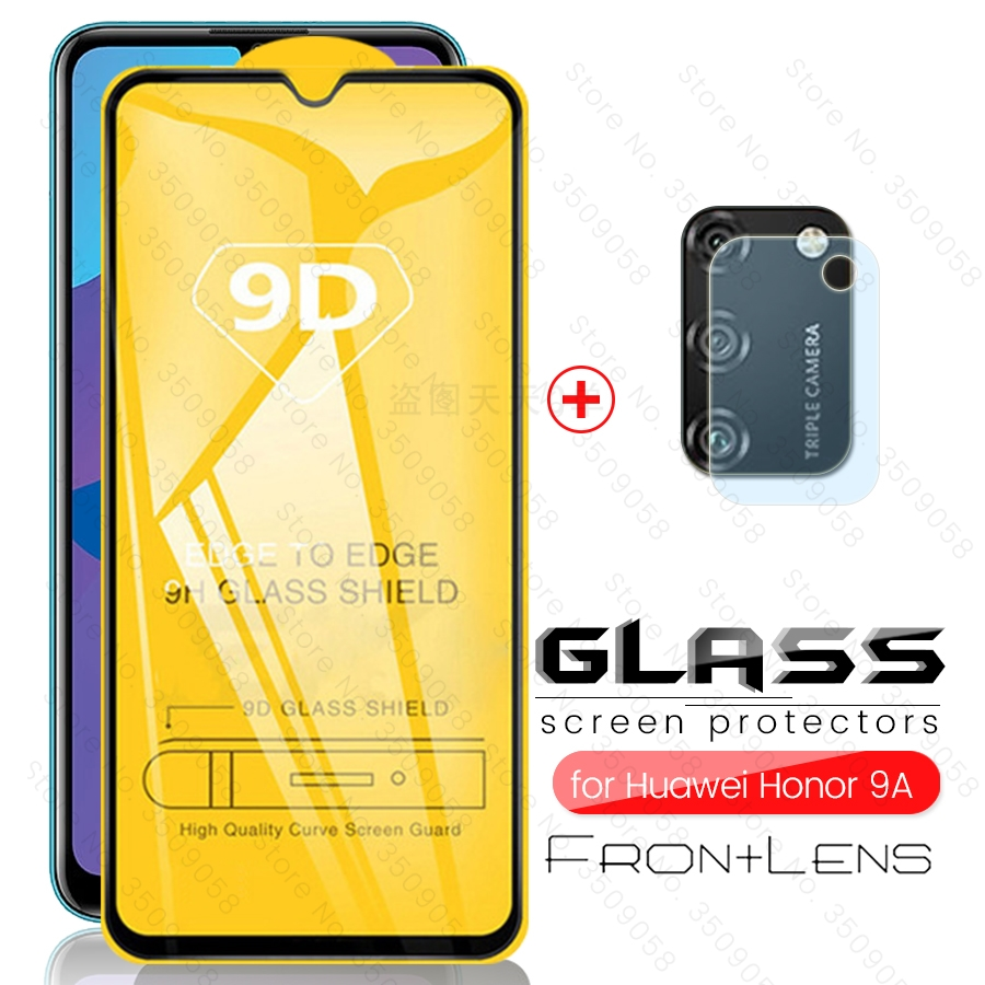 2-in-1 9d Camera Protector On Honor 9a Glass Protective Glasses For Huawei Honor 9 A A9 Moa-lx9n стакан Honor9a 2020 6.3'' Film