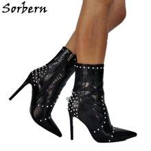 Sorbern крокодил Стиль обувь с заклепками для женщин в стиле