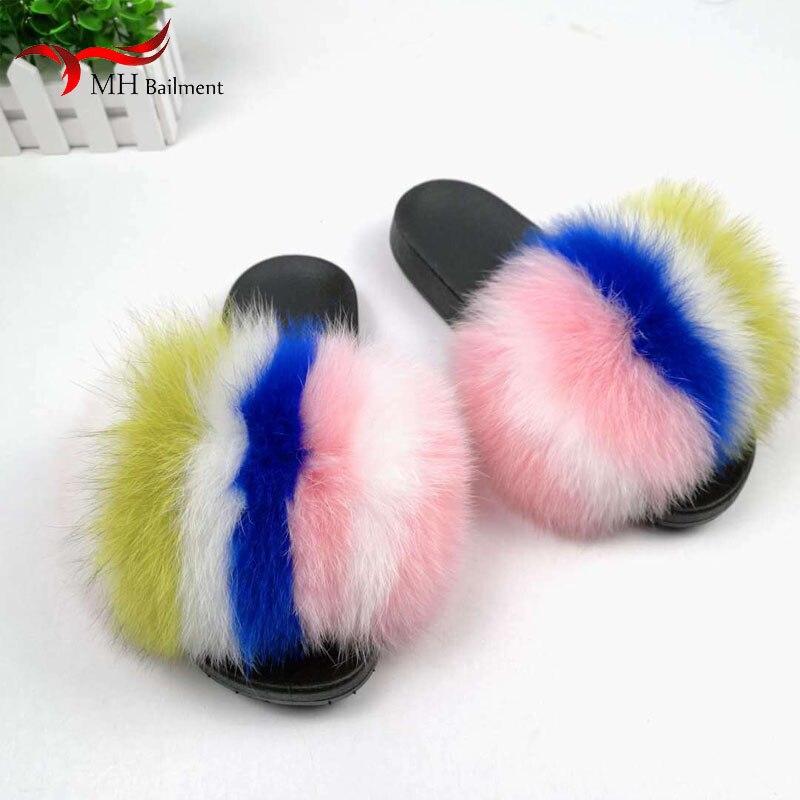 Verão feminino moda real pele de raposa slides indoor peludo casa chinelos meninas ao ar livre sandálias macias sapatos planos mulher