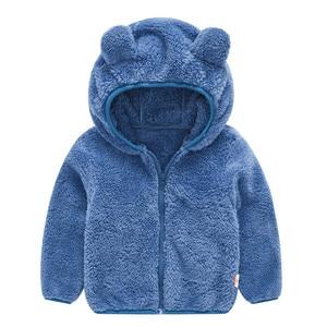 Image 4 - Soft Warm Polar Fleece Hooded Child Coat Baby Girls Boys Jackets Children Outerwear Clothing For 70 120cm Spring Autumn