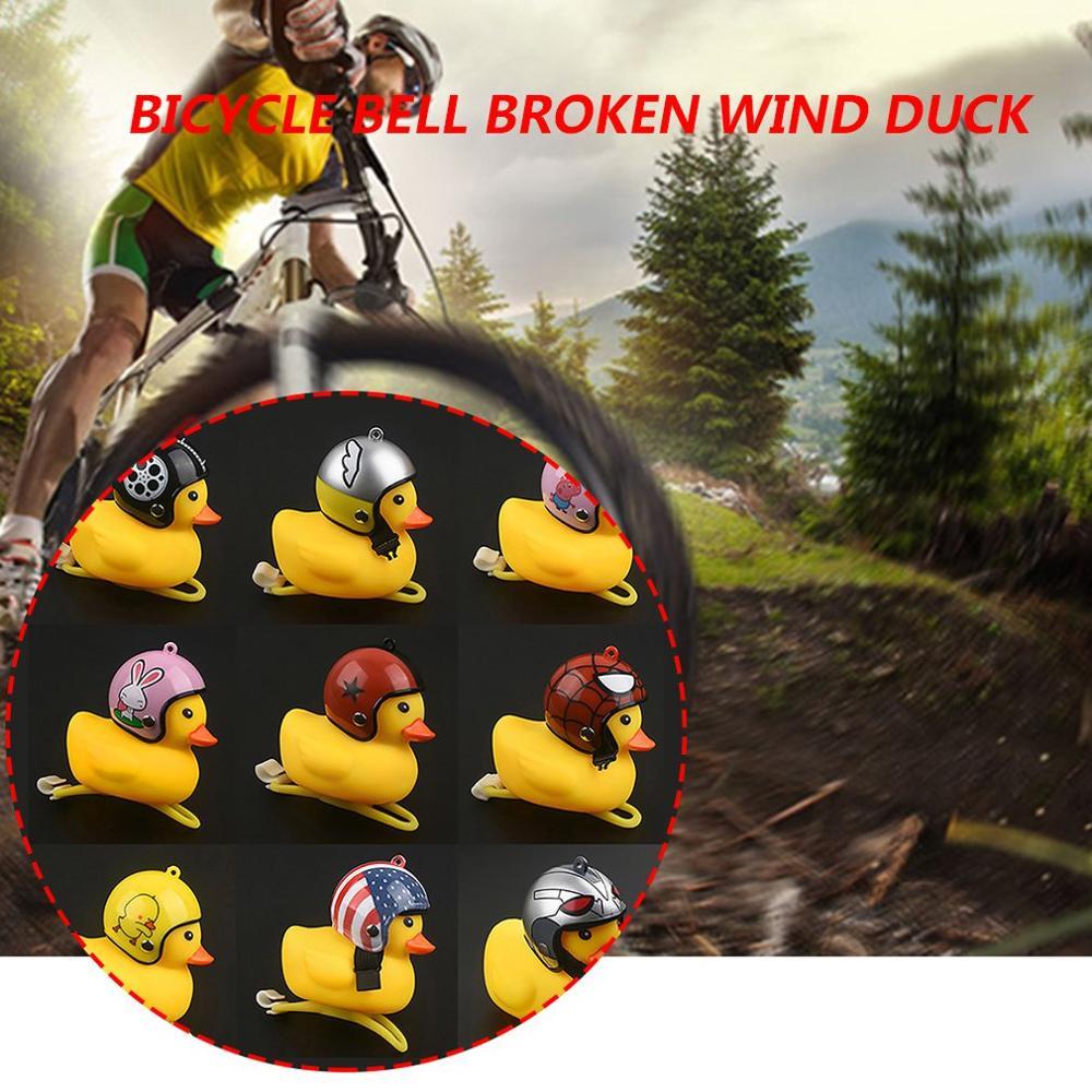1pc Cartoon Yellow Silica Little Duck Helmet Head Bicycle Light Shining Mountain Bike Handlebar Duck Head Light Bell Accessories in Bicycle Bell from Sports Entertainment