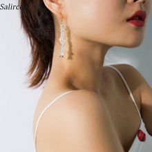 Salircon  Fashion Trend Temperament Drop Earrings White Transparent Geometric Irregular Stone Pendant Accessories Gift
