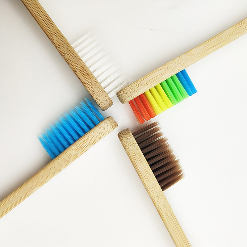 Home Natural Bamboo Toothbrush Handle Rainbow Soft Bristles Manual Toothbrush For Oral Care  !