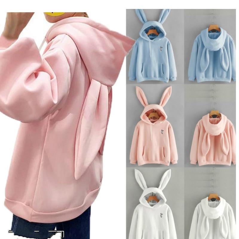 Women Cute Bunny Printed Girl Hoodie Casual  Long Sleeve Sweatshirt Pullover  Ears Plus Size Top Sweatershirt Hot Sale