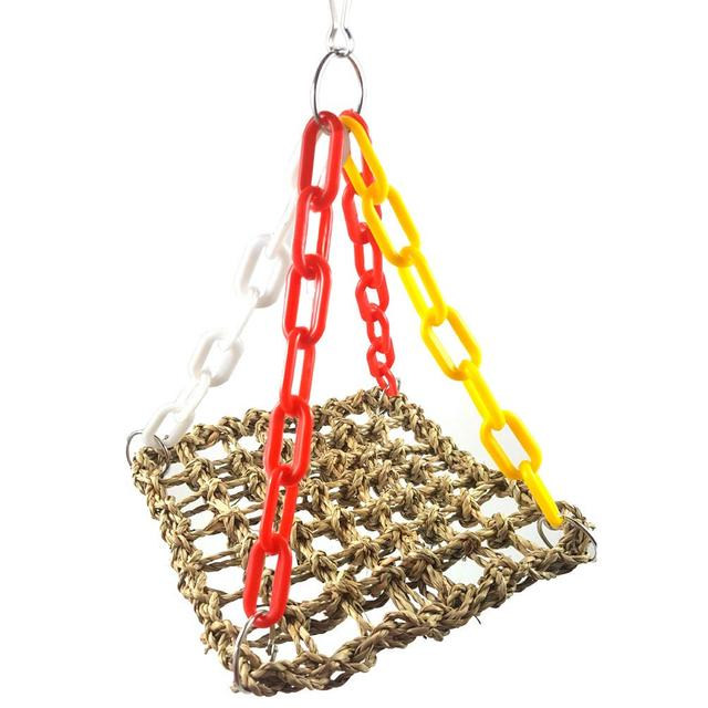 Bird Hanging Hammock Parrot Hemp Rope Net Swing Climbing with Hooks for  Macaw African Greys Cage Perch Training Toy