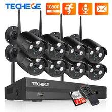Techege système de caméra CCTV, wi fi 8CH 1080P, Kit NVR, enregistrement Audio, CCTV, 2mp, système de caméra de sécurité sans fil, étanche, 4/8 caméras, P2P