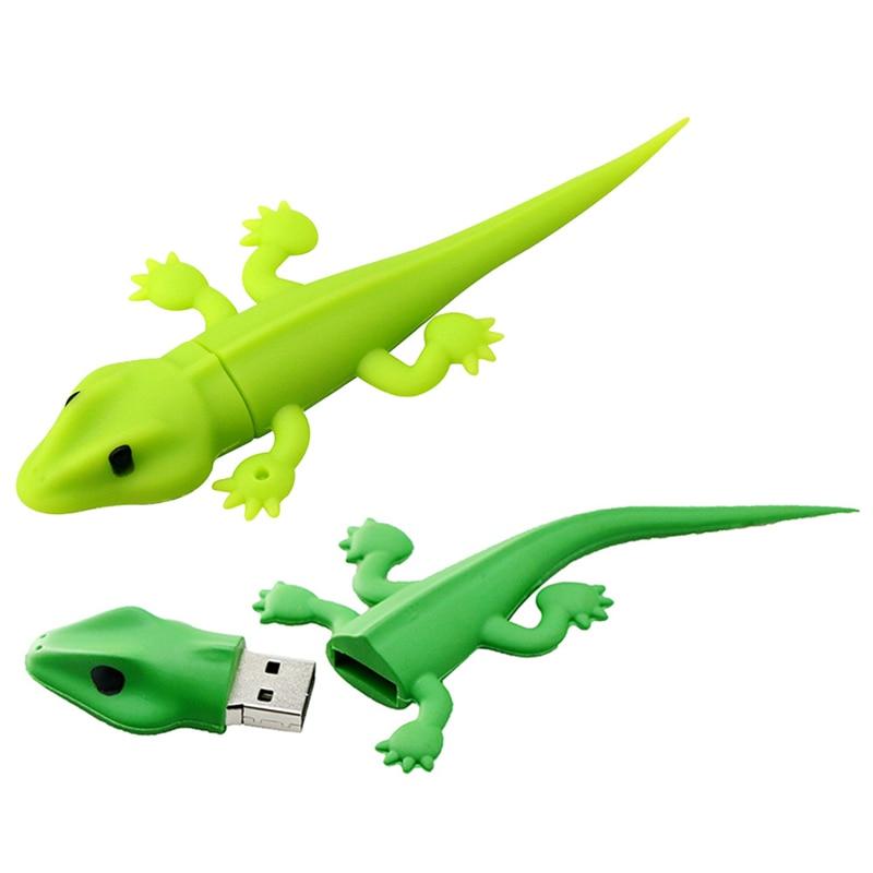 USB2.0 Green Lizard Gecko USB Flash Drive Silicone Cute 256GB 32GB 128GB 4GB 8GB 16GB Memory Stick Pendrive Animal Mini Gift