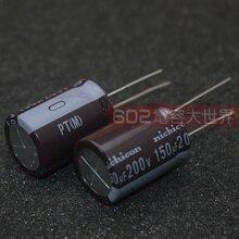 20 pces nichicon pt 200v150uf 18x25mm capacitor eletrolítico 150 uf/200 v de alta frequência longa vida 150 uf 200 v