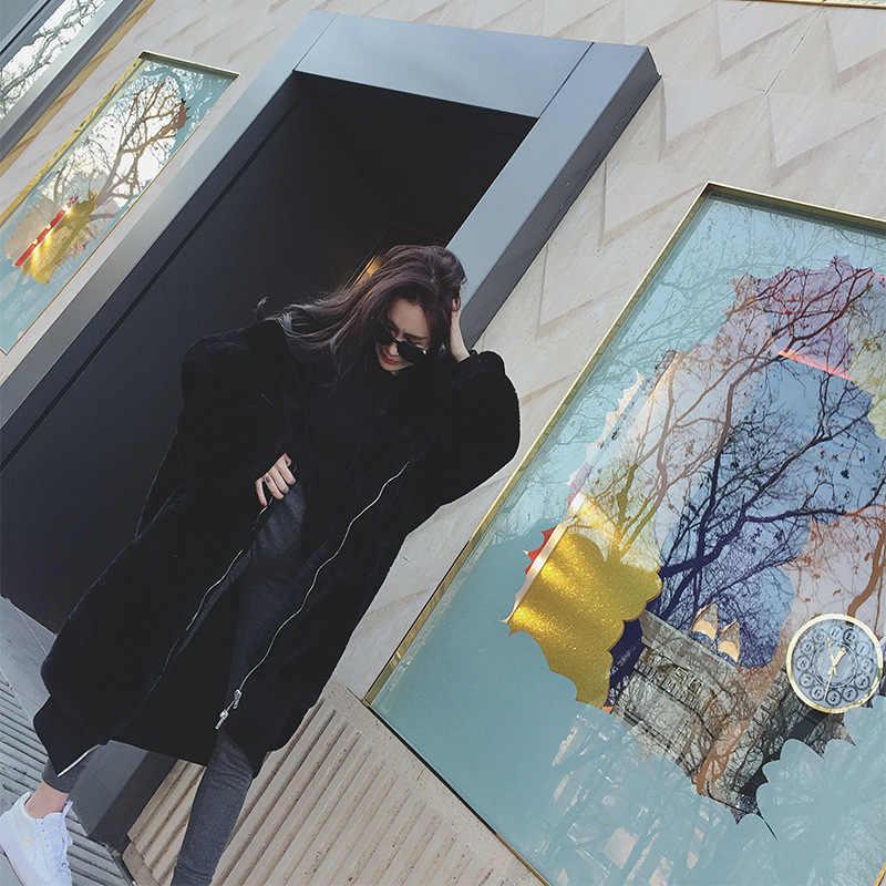 החורף חם סלעית גדול גודל בינוני אורך מוצק צבע פרווה & פו פרווה נשים מעילי 2019 חדש מזדמן ארוך שרוול נשים פרווה מעיל