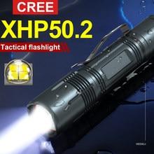 Lampe de poche tactique professionnelle Cree Xhp50 18650, lanterne Led Rechargeable pour chasse Police, Mini lampe de poche usb militaire