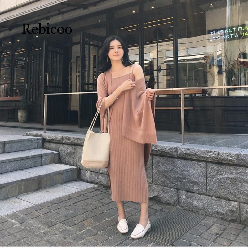 2019Autumn Winter Women Knit Wool Blends Cardigan Coat Knitwear Jackets two piece Sleeveless knit Dress set in Women 39 s Sets from Women 39 s Clothing