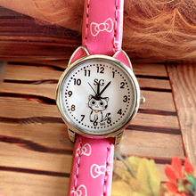 Dial Watches Silver Girls Party-Gift Kids Children Students Fashion Cute Cat Quartz