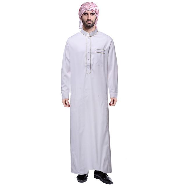 فستان قطن جوبا ثوب إسلامي رداء تونيك بأكمام طويلة للرجال عربية إسلامية عباية قفطان سعودي إيكاف ياقة ذهبية 2