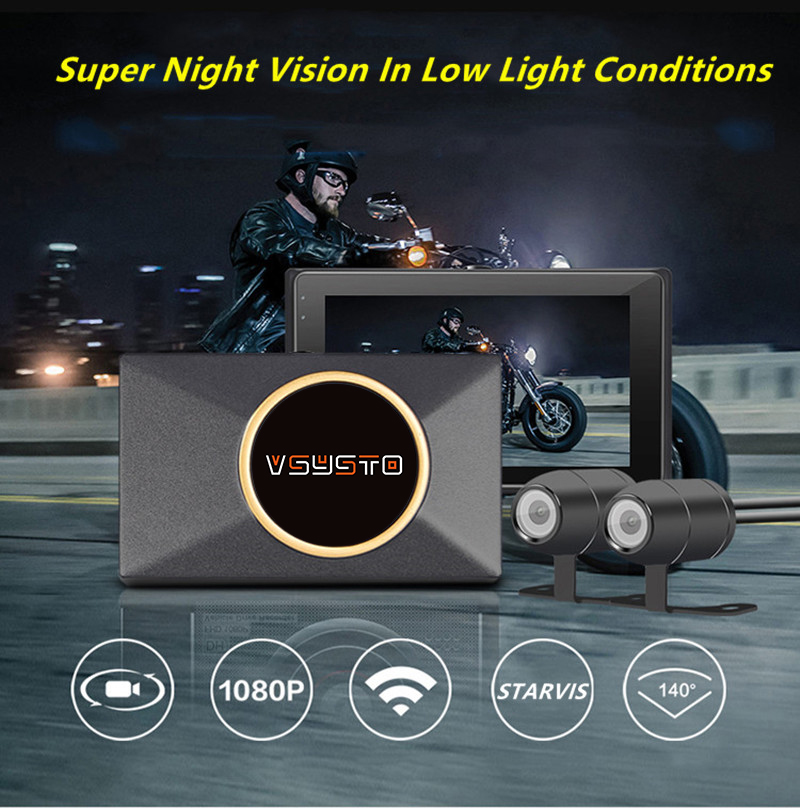 Wifi moto rcycle tableau de bord caméra 1080P moto dvr 140 ° moto rbike double vue caméra 3