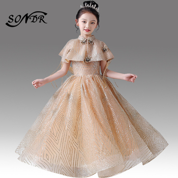 Shining Glitter Flower Girl Dresses HT164 Elegant Gold Girls Pageant Gown with Shawl Appliques for Weddings