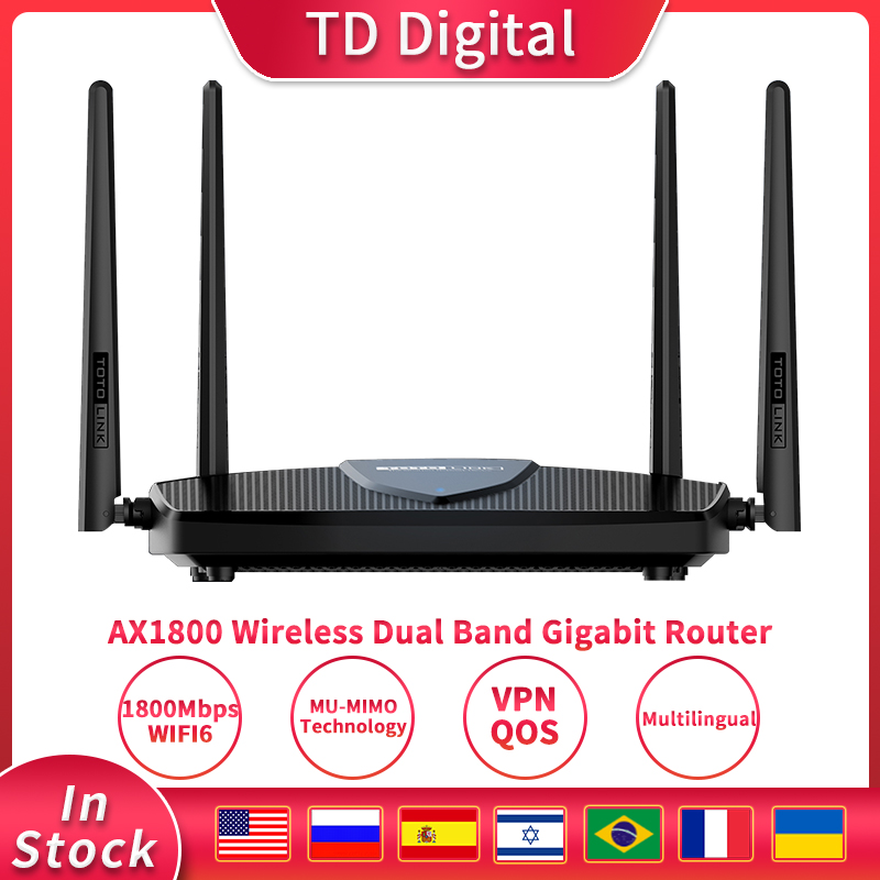 TOTOLINK Gigabit Wireless Wifi 6 Router X5000R 1.8Gbps Dual Band WiFi Signal Amplifier Whole House Coverage 1
