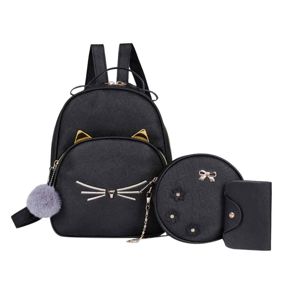 3Pcs/set Women Rucksack Teenagers Travel Backpack PU Leather School Bags for Girls Cartoon Cat Square Satchel Light Shoulder Bag