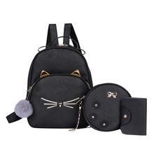 Women Rucksack Teenagers Backpack PU Leather School Bags for Girls Cartoon Cat Square Satchel Light Shoulder Bag Mochila Mujer все цены