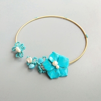 LiiJi Blue Turquoises Flower Baroque Pearl Handmade Choker Open Necklace With Jewelry Box For Women