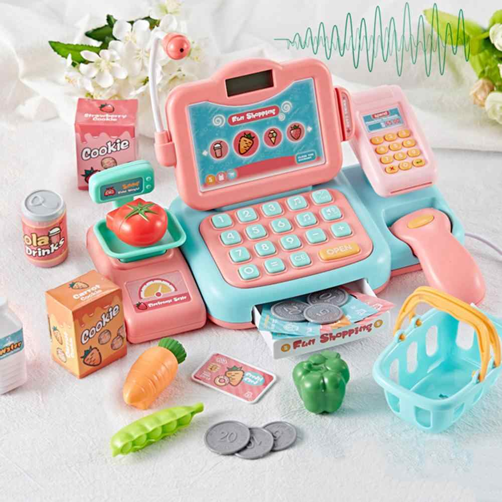 Mini Simulated Supermarket Checkout Counter Role Play Cashier Cash Register Set With Scanner Sound Kids Pretend Play Toys