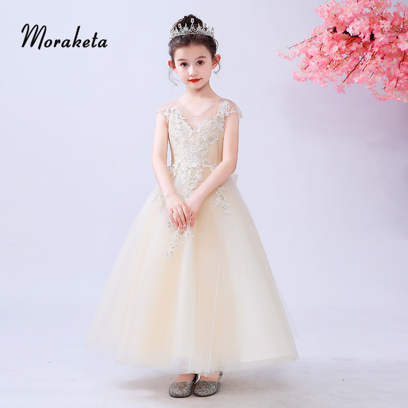 V-neck Sleeveless Ball Gown Floor-length Champagne   Flower     Girl     Dresses   Luxury Appliques Princess Tulle   Girls   Pageant   Dresses