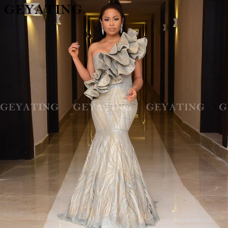 Sparkly Glitter Sequin Mermaid Prom Dresses One Shoulder Ruffles African Plus Size Evening Dress 2020 Long Women Formal Gowns